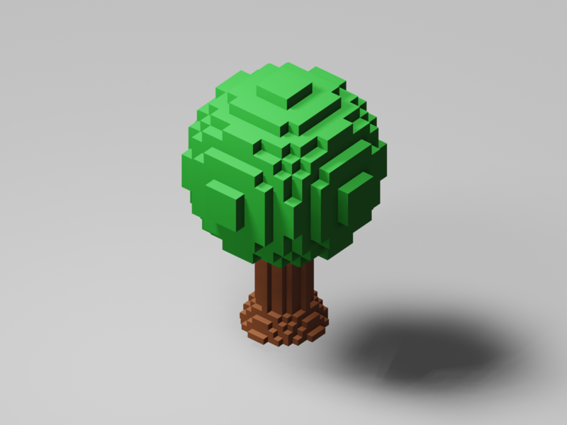 Voxel Tree lowpoly3d lowpoly interior japan minimal c4d cinema4d isometricart isometric design illustration 3d 3dcg blender3d blender