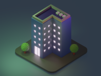 Building in the dark lowpoly3d lowpoly interior japan minimal c4d cinema4d isometricart isometric design illustration 3d 3dcg blender3d blender
