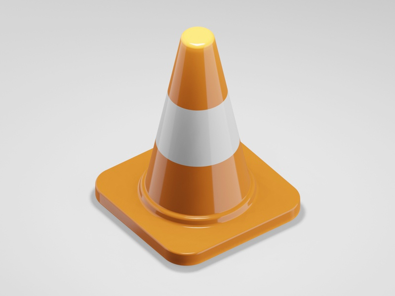 Traffic cone icon lowpoly3d lowpoly interior japan minimal c4d cinema4d isometricart isometric design illustration 3d 3dcg blender3d blender
