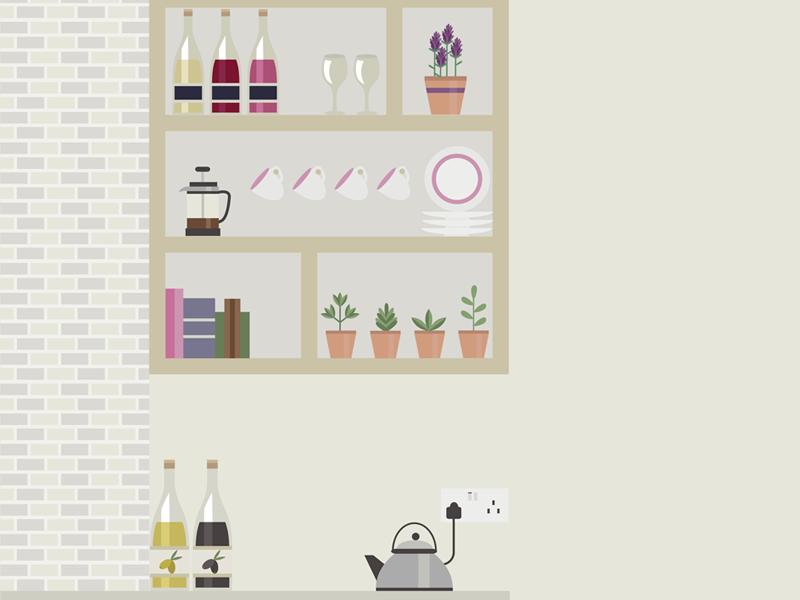 Kitchen kitchen illustration vector wine cultery home interiors design illustrator coffee