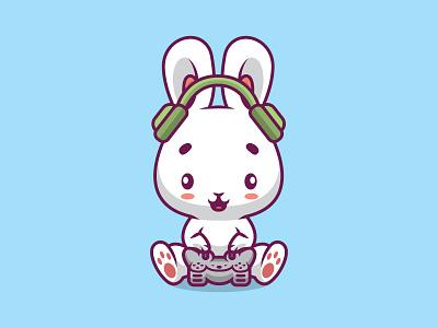 Cute rabbit gaming cartoon illustration picture design pet kid funny activity happy play character bunny animal fun cute illustration vector game cartoon rabbit