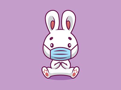 Cute rabbit using mask cartoon illustration medical protection corona pandemic symbol coronavirus icon nature virus bunny mask funny design vector character illustration cartoon cute rabbit animal