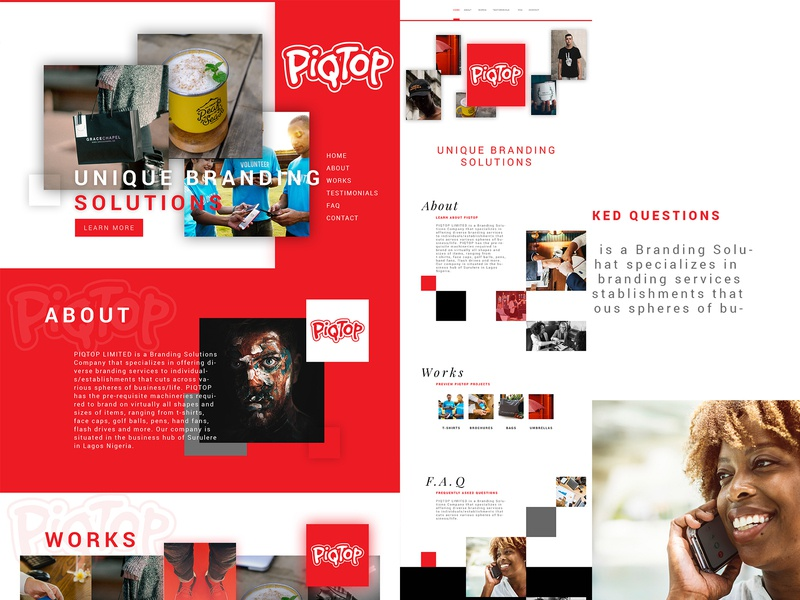 PIQTOP Website Redesign red branding