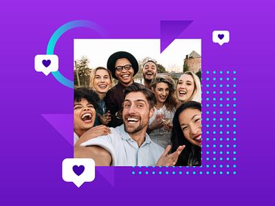 social media design tech modern gradient purple cover design cover art social media vector technology graphic design geometric ecommerce