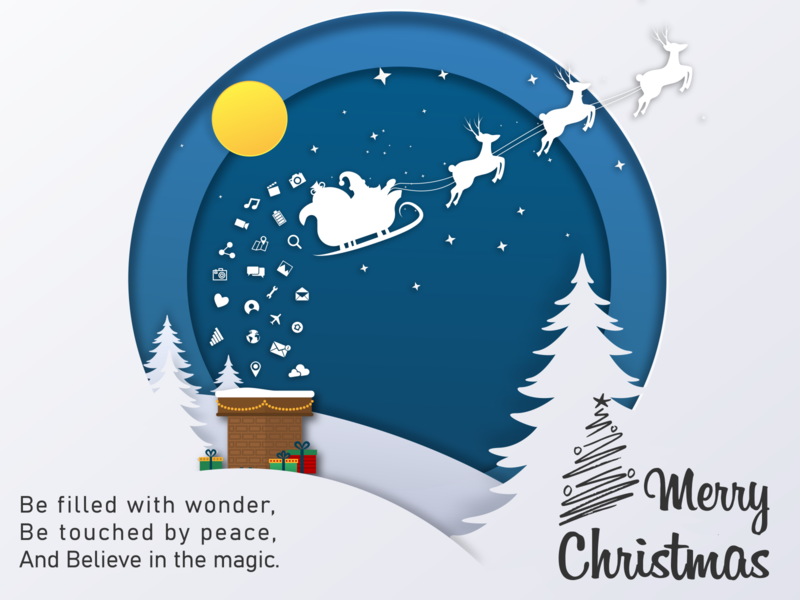 New Generation Santa - Merry Christmas gifts snow peace magic paper cutout marketing new generation christmas tree flatdesign social media design visualdesign illustration santaclaus winter new year xmas christmas merry christmas merrychristmas merry xmas