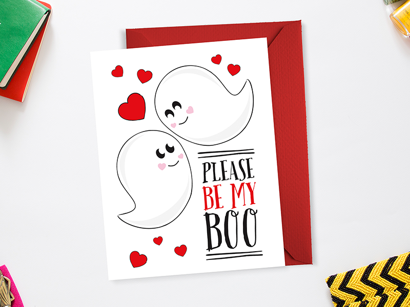 Please Be My Boo for sale ghost valentines day valentine card cute pun