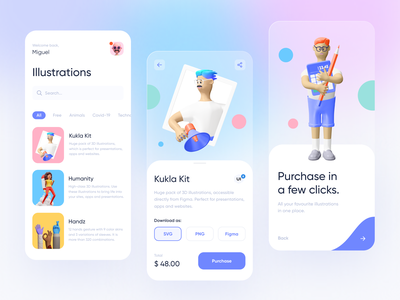 Illustration Shop — App Concept flat 3d illustration branding app store checkout fade 3d ui ux clean blur shop search gradient mobile ios illustration dashboard cards