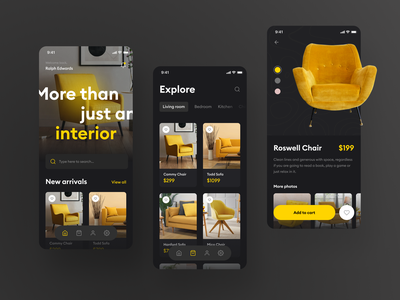 Furniture Store App Concept card price clean shopping chair ecommerce minimal mobile order product dark yellow cart shop store furniture ux ui flat app