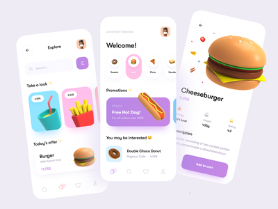 Food Delivery App concept foodie food delivery clean ui restaurant delivery app food app bag cart service order mobile clean payment 3d illustration ios delivery app food