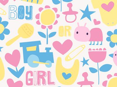 Boy or Girl newborn illustration baby