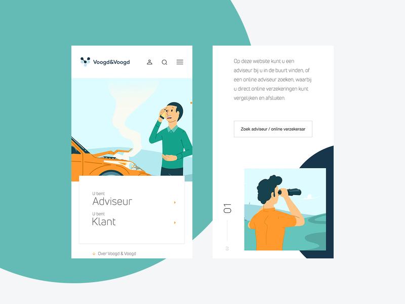 Voogd & Voogd - Mobile website insurance mobile ui corporate illustration design branding