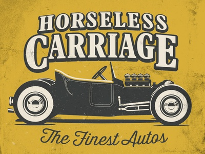 Horseless Carriage Graphic typography hot rod illustration graphic logo