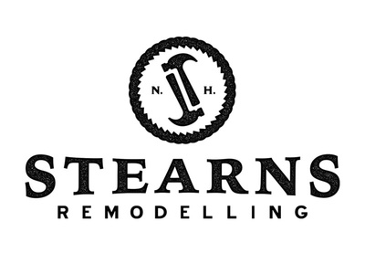 Stearns Remodelling Logo typography nh remodelling construction hammer logo