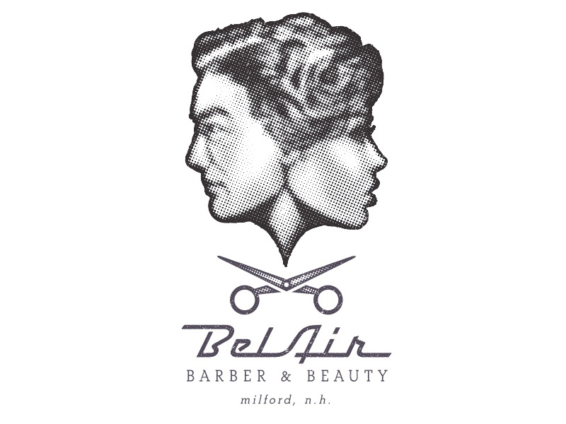 Bel Air Barber and Beauty Graphics hand-drawn potrait logo barber 1950s 50s drawing
