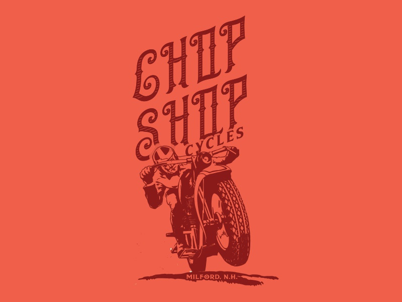 Chop Shop Tee Graphic red vintage motorcycle graphic shirt tee