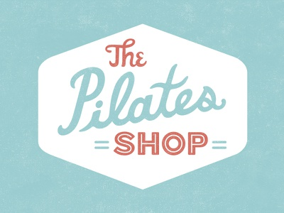 The Pilates Shop custom type lettering badge pilates logo typography