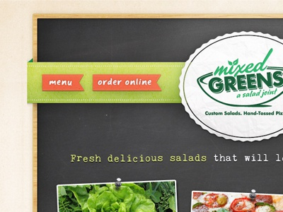 Mixed Greens Website website chalkboard restaurant