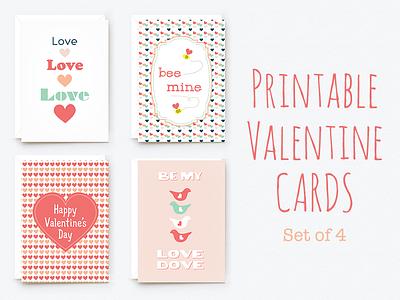 Printable Valentine Cards valentine printable cards 4x6 set creative market