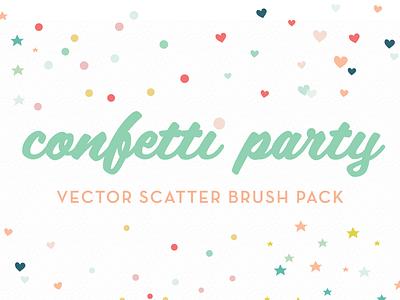 Confetti Party Scatter Brush Pack confetti party vector scatter brush pack illustrator brushes hearts stars circles colorful festive fun