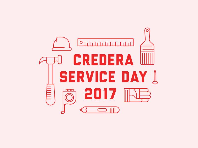 Credera Service Day 2017 dallas helmet service illustration hammer tools build construction credera