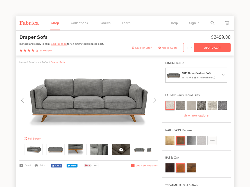 Fabrica Product Detail Page design illustration fabric web pdp ecommerce ui furniture