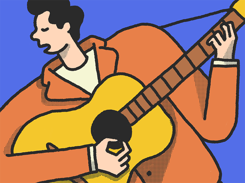 Man Playing Le Guitar acoustic man color primary sketch ipad design illustration guitar