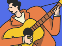 Man Playing Le Guitar