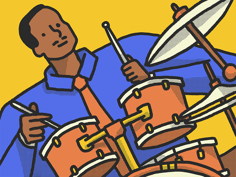 Man Playing Le Drums jazz playing music half-tone design illustration drums drummer