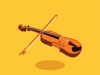 Wooden violin with bow vector flat design illustration - Vector