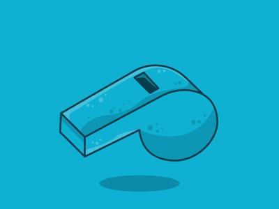 Blue sport whistle icon flat design