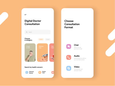 Digtial Doctor Consultation App UI Design