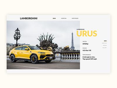 Lamborghini Urus web branding car website minimal design ux ui