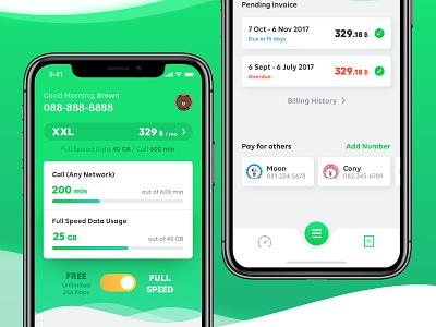 Mobile Dashboard dashboard app mobile app design telecom app ui
