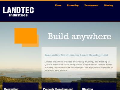 Landtec Industries Website blasting orange blue wordpress property development excavation