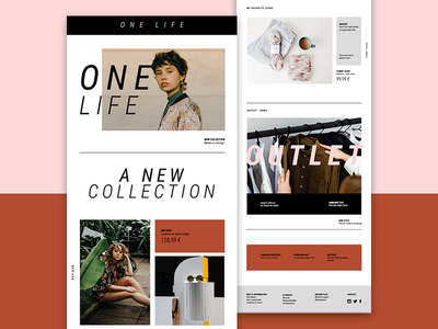 One Life  : Emailing fashion mode ecommerce photography creation inspiration graphicdesign conception webdesign red web newsletter design graphic emailing