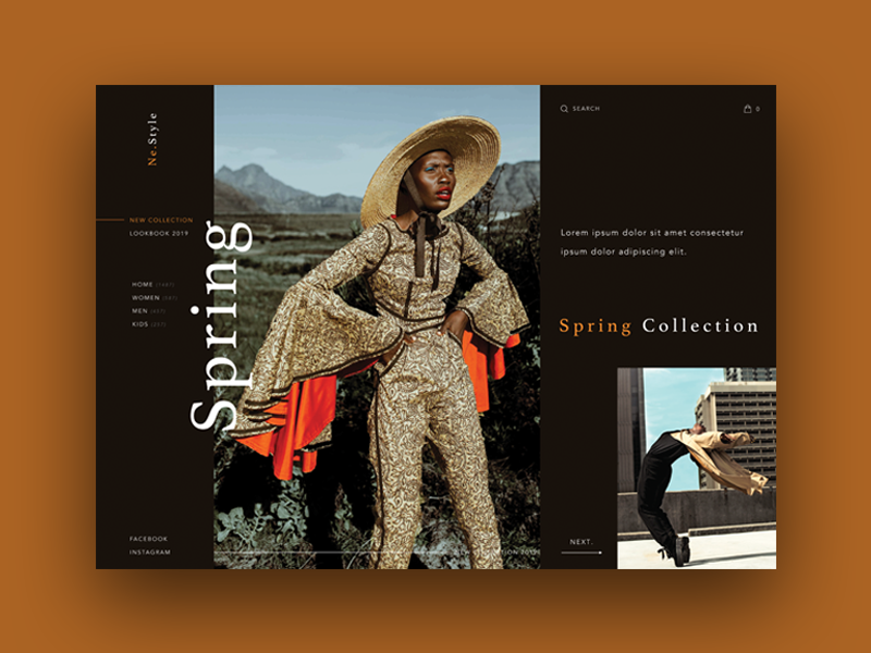 Home Page Luxe : E-commerce typography photography webdesign interactive transition slider ui graphic