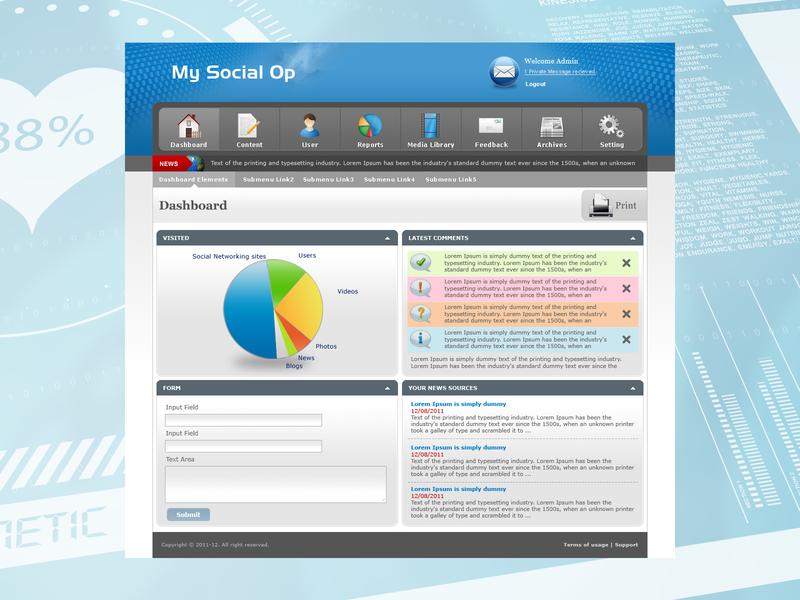 Admin Dashboard corporate website creative ui photoshop design