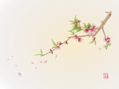 Peach Blossom illustration vector gongbi peach blossom spring asian style chinese