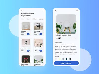 Modern Furniture Shop App Design app design branding