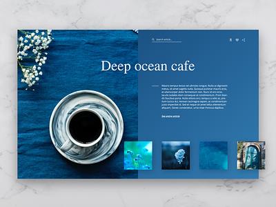 Deep Ocean Caffe blue gradient user inteface webdesig ux ui landing page