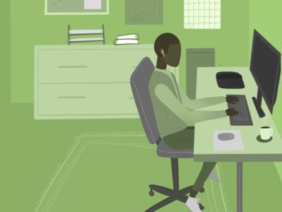 Desk Worker Illustration procreate graphic design illustration design