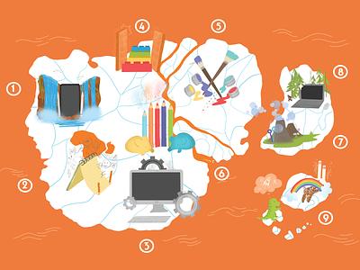Islands of Brilliance Map procreate graphic design design illustration