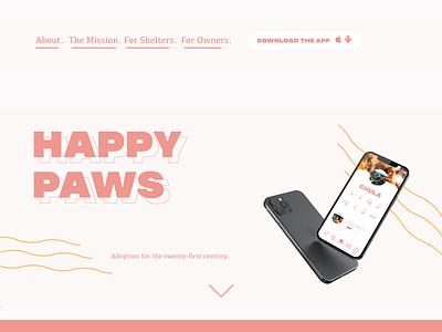 Happy Paws minimal flat web app ui ux illustrator graphic design design illustration