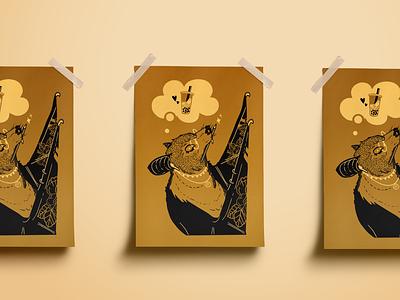 Boba Moth Print screenprint photoshop vector illustrator graphic design design illustration
