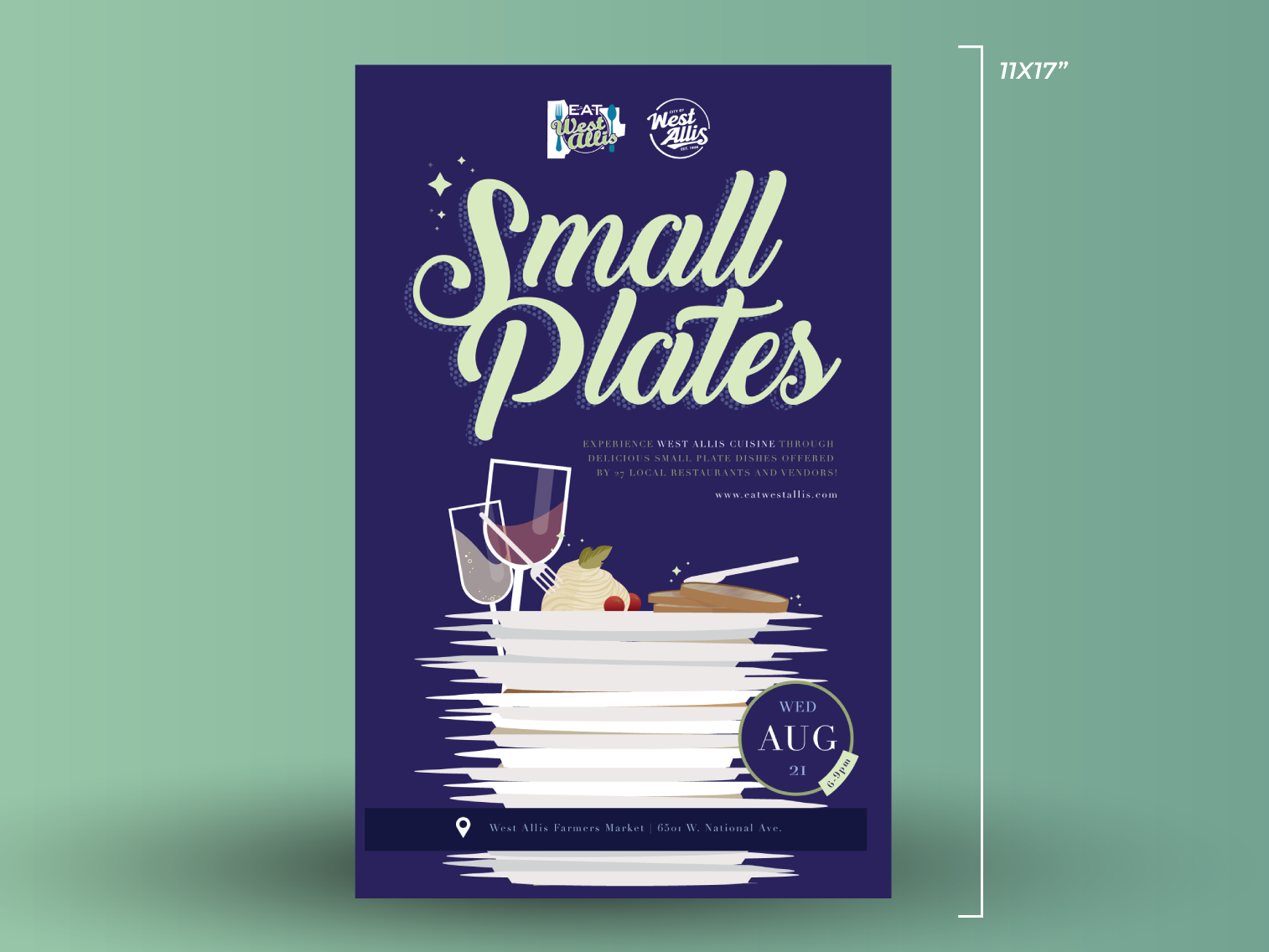 Small Plates Poster logo typography branding vector graphic design illustrator illustration design