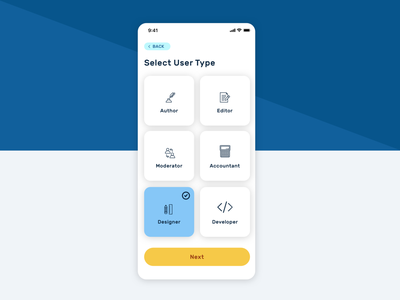 Select User Type dailyui