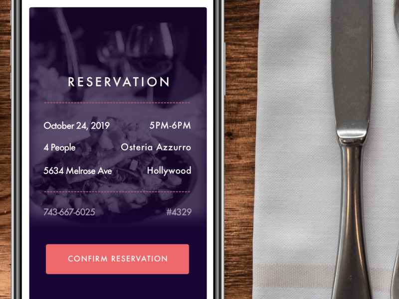 Daily UI - Day 054 - Confirm Reservation dailyui