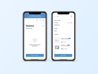 Wishlist Visual Exploration airpods macbook apple blue minimalist ui ux mobile app ui mobile app ecommerce design gradient dailyui visual design visual exploration app adobexd