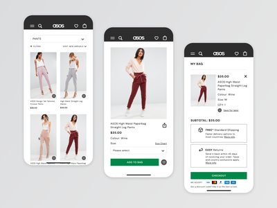 ASOS App Redesign shopping bag shopping app ux ui typography minimal asos mobile app design ecommerce design retail fashion app mobile app ui app design ux design app dailyui uidesign uiux product design adobexd