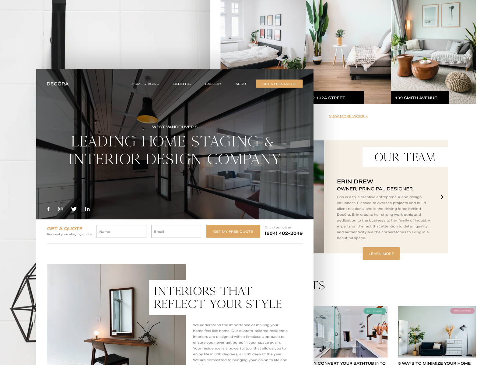 Decōra Interior Design Home Staging Website By Allie Jehle On Dribbble